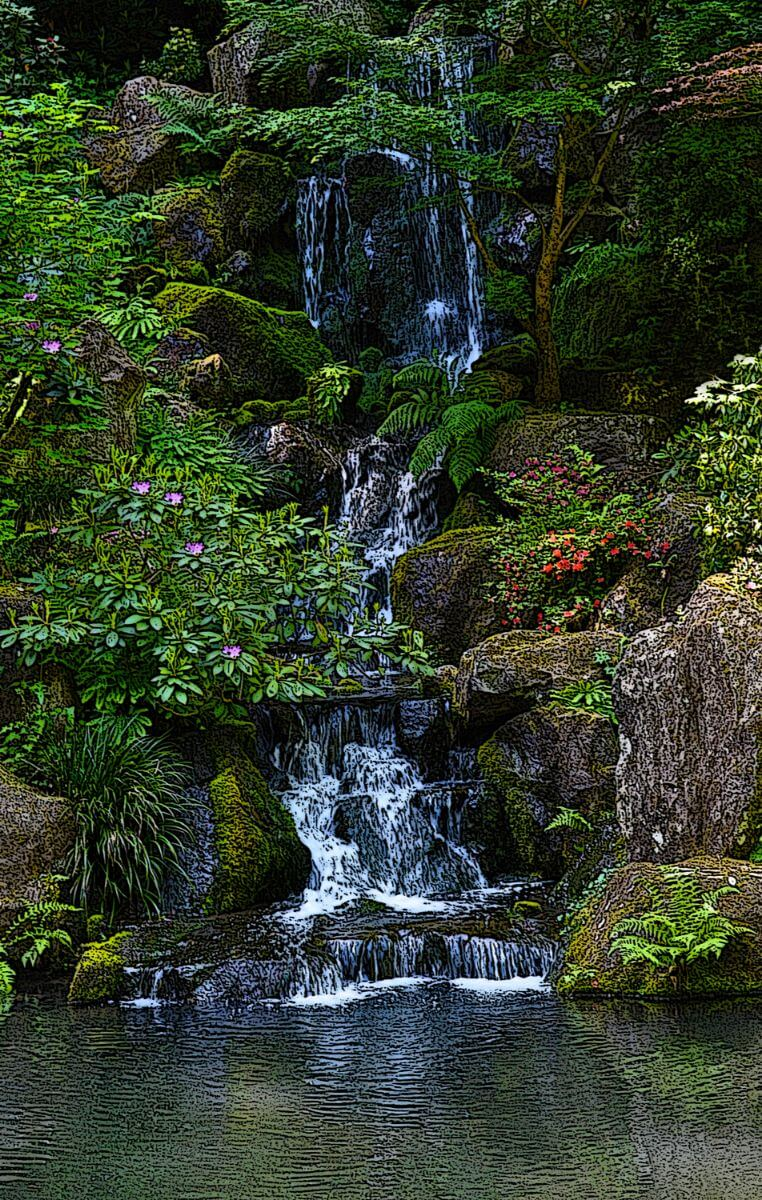 Portland Japanese Gardens Waterfall